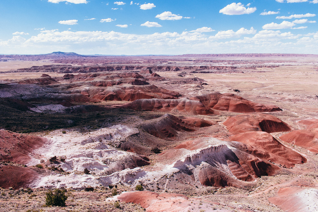 Brown white and red badlands