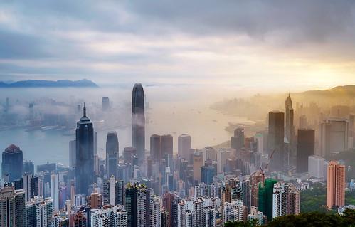 hongkong lugarroad sunrise asia travel victoriapeak damienborel boblastic cityscape foggy