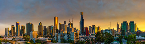 australia melbourne southbank victoria buildings city clouds light panorama skyline sunrise goldenlight cityscape