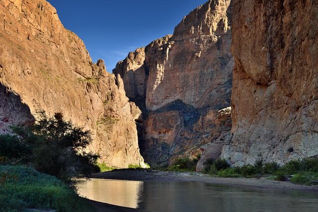 Rio Grande Surrounded by the 1200 Foot Walls of the Boquillas Canyon (Big Bend National Park)