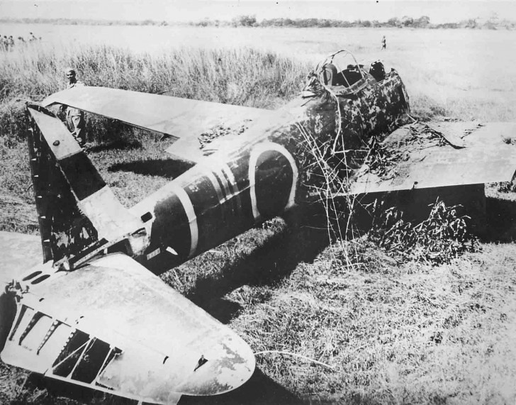 Downed Japanese Nakajima Ki-43 fighter