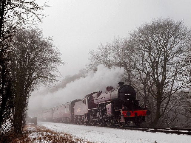 Freezing cold  and fog  greet the Crab on the approaches to Irwell Vale Station.