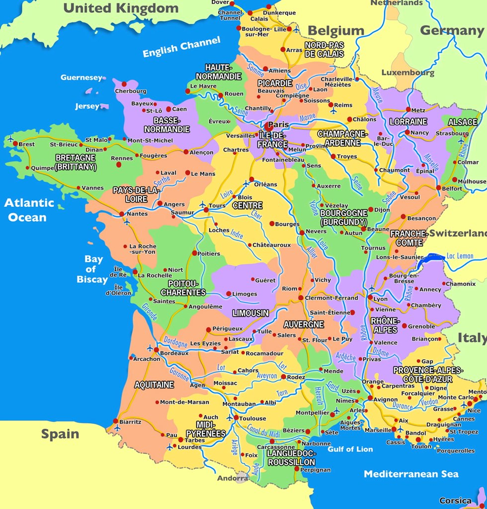 Map of France, Undated | The political regions of France are ...