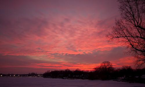 winter sunset sky lake tree ice clouds michigan whitmorelake