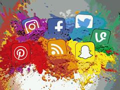 Social Media Icons Color Splash Montage - Landscape
