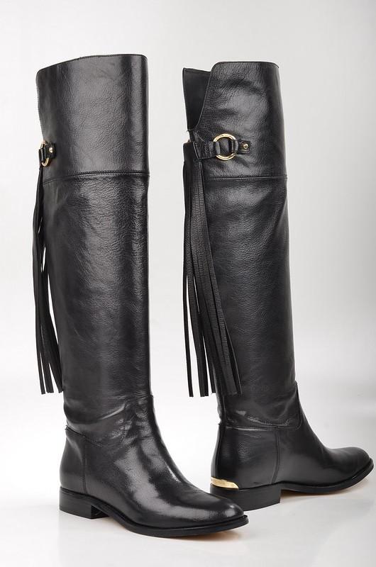 Michael Kors Rhea Flat Boot Overknee Stiefel 40F4RHFB5L Kalbsleder schwarz (3)