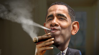 Barack Obama - Enjoying a Cuban | by DonkeyHotey