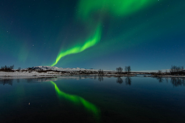 Aurora borealis over water