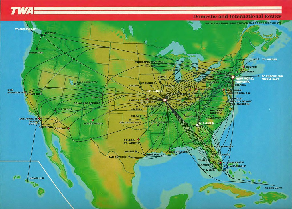 Airline Maps — TWA routes, January 1994 The Trans World ...