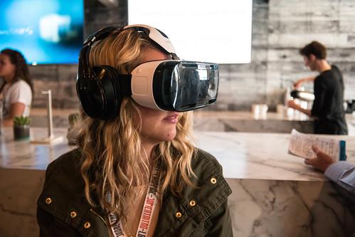 Woman Using a Samsung VR Headset at SXSW | by nan palmero