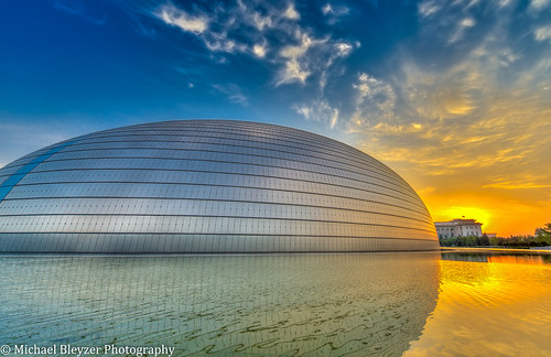 sun reflection beautiful beauty sunshine sunrise reflections gold nikon asia beijing hdr cityskyline ncpa suninthewater nationalcenterfortheperformingarts 3fhdr