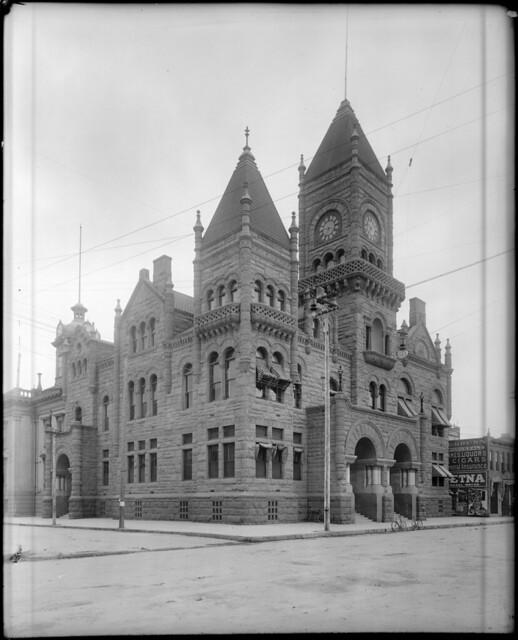 Exterior view of the San Bernardino County Courthouse building, ca.1910 (CHS-5244)