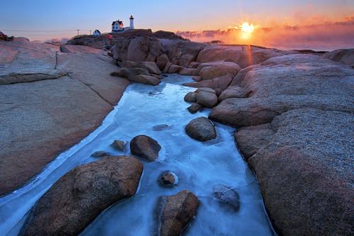 york lighthouse ice sunrise maine seasmoke nubblelight yorkharbor capeneddick canon6d canonef14mmf28lii