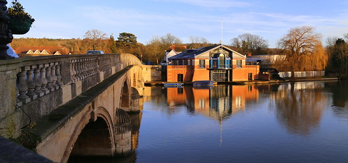 trees england sky sunlight colour water architecture buildings reflections river landscape boats evening sandstone afternoon stonework famous bridges arches rowing regatta flagpole berkshire henley oxfordshire ballustrade