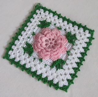 Handmade Thread Crochet Potholder With Pink Rose