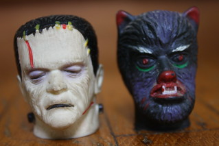 1960's Frankenstein And Wolf Man Monster Pen Heads | by Donald Deveau