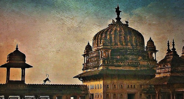 INDIEN, historisches Orchha,  Raja Mahal-Fort und Jahangir Mahal- Palast, 14116/6963