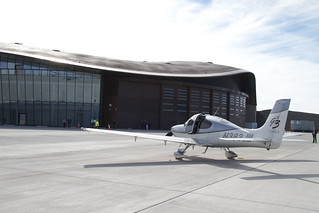 Private plane on Gateway to Space Apron | by Spaceport America