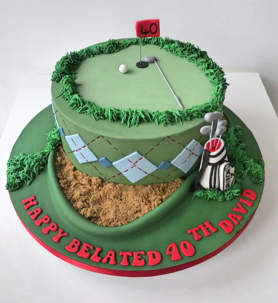 Amazing 40Th Golf Themed Birthday Cake A Cherry On Top Scotland Flickr Funny Birthday Cards Online Aeocydamsfinfo