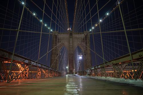 Brooklyn Bridge at Night   by nan palmero