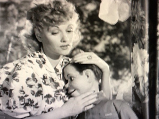 Movie Star Lucille Ball comforts Star maniken Charley Mcarthy in 1941s Look Who's Laughing