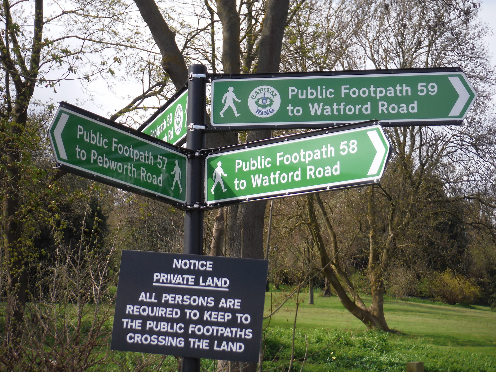 Public Footpath Junction at heart of Dispute between The Ramblers and Harrow School SWC Short Walk 40 - Harrow-on-the-Hill (South Kenton or Northwick Park to Harrow-on-the-Hill)