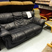 3 seater navy leather sofa