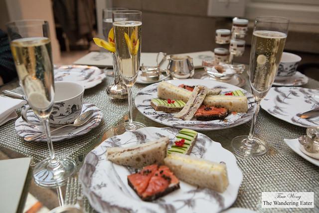 Our glasses of Champagne Voirin-Jumel 1st Cru Blanc de Blancs and tea sandwiches