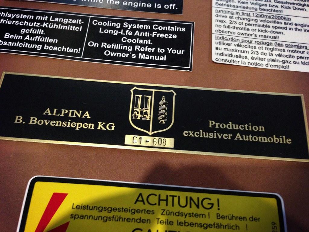Bmw Alpina C1 608 Bmw Alpina Vintage Plates And Stickers