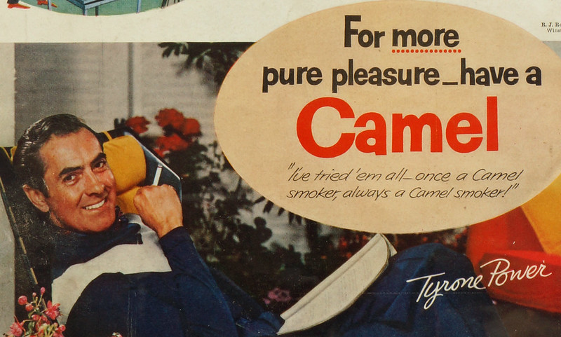 CM171 Vintage Collectible LIFE MAG AD of TYRONE POWER for CAMEL CIGARETTE