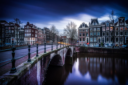 street longexposure bridge blue houses sunset sky holland netherlands colors dutch amsterdam clouds reflections lights movement bikes keizersgracht