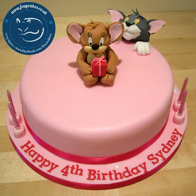 Peachy Tom And Jerry Themed Birthday Cake Cake Thefoxycakeco Flickr Funny Birthday Cards Online Alyptdamsfinfo