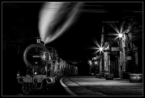 longexposure bw monochrome mono blackwhite yorkshire rail trains railways locomotives preservation kwvr keighleyandworthvalleyrailway niksoftware silverefex