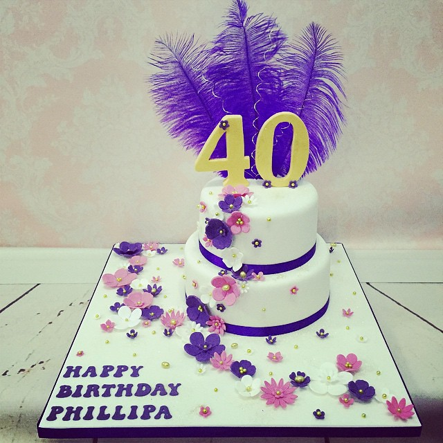 Enjoyable Tonights Ladies Flower Cascade 40Th Birthday Cake Fabulo Flickr Funny Birthday Cards Online Elaedamsfinfo