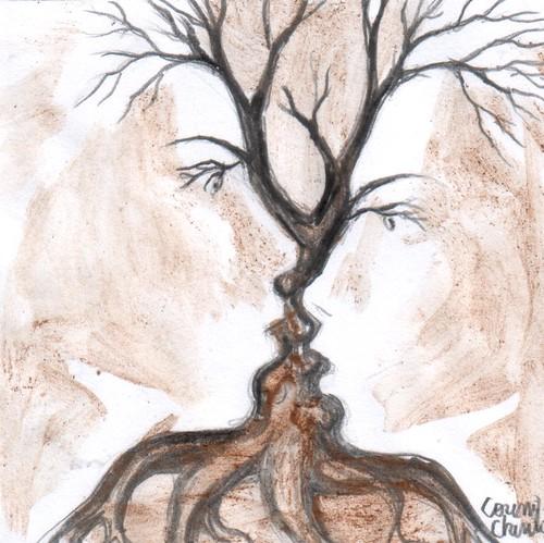 Copacul sarutului pictura facuta cu cafea - The tree of the kiss coffee painting | by DeseneSiPicturiDeCorina