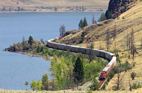 railroad lake canada train britishcolumbia curves locomotive canadianpacific cp ge containers savona dpu ac4400cw intermodaltrain savonalake