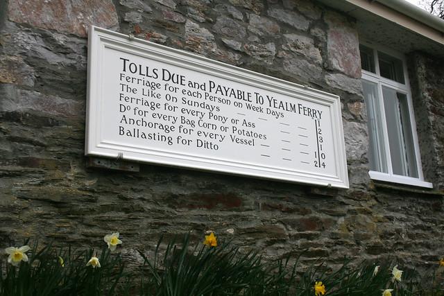 Yealm Ferry tolls