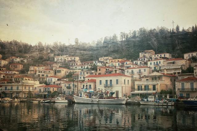 Harbor at Poros, Greece through the ferry window