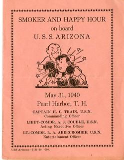 Smoker and Happy Hour Flyer, USS Arizona, 31 May 1940