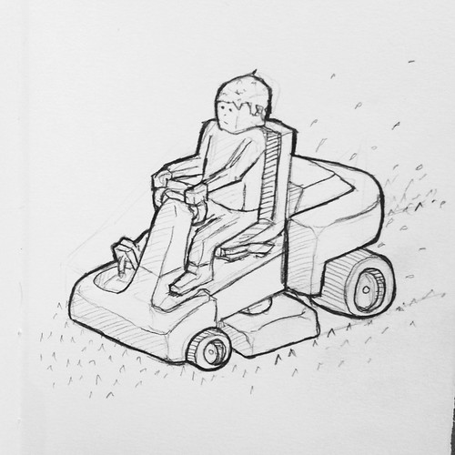 The park rangers are out today. Smell of freshly cut grass! Spring is here. #sketch #drawing #lawnmower. | by Tom Cardo-Moreno