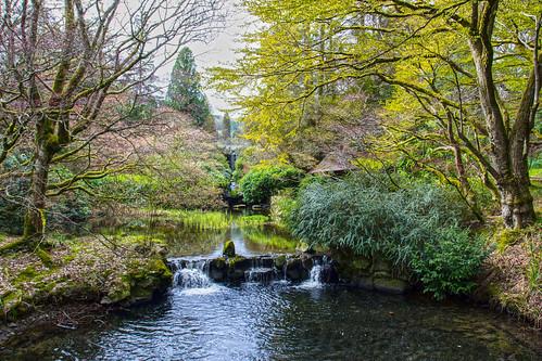 uk river season landscape japanesegarden scotland waterfall spring pond stream europe unitedkingdom places watergarden peebles borders stobocastle