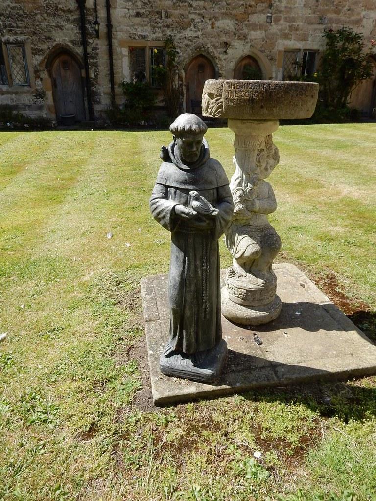 St Francis and birdbath Cuxton to Halling - College almshouses, Cobham