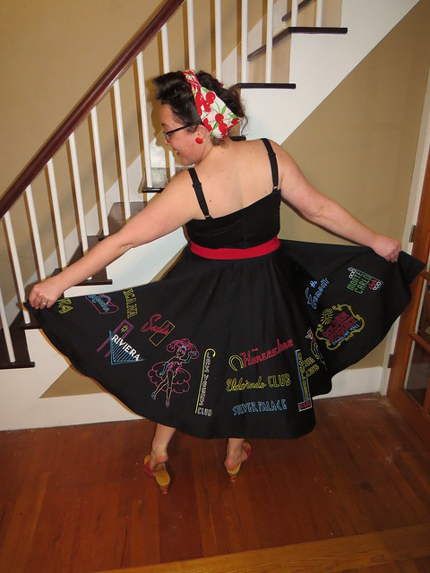 Thu, 03/26/2015 - 7:28pm - Natalie painted this awesome skirt for our trip to Viva Las Vegas 18 next week!