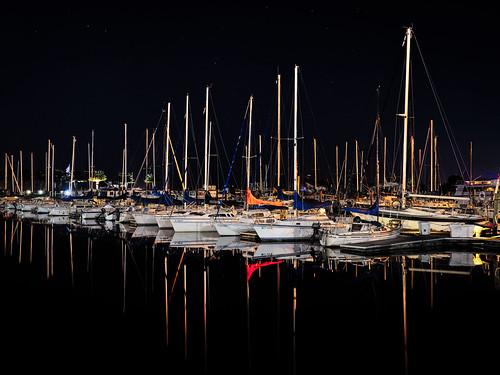 longexposure blackandwhite bw usa lake reflection water monochrome weather sailboat marina stars landscape lights harbor boat dock lowlight florida calm clear nighttime sanford centralflorida edrosack