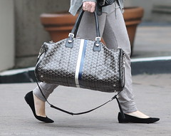 Melissa George, with Goyard monogram travel tote, Vancouver, March 24 2015  4