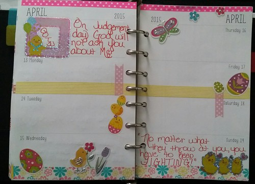 Weekly planner decor for April 13th - 19th #spring #springtime #Daytimer #planner #plannerlove #plannernerd #plannercuteness