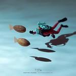 ". 7.22 fri ""Finding AlmonDory"" . ファインディング・アーモンドリー . #ナッツの日 #アーモンド #魚 #ファインディングドリー #Almond #fish #FindingDory . ーーーーーーーーー Exhibition in Hong Kong 23Jul-31Aug Check the Link of my profile."