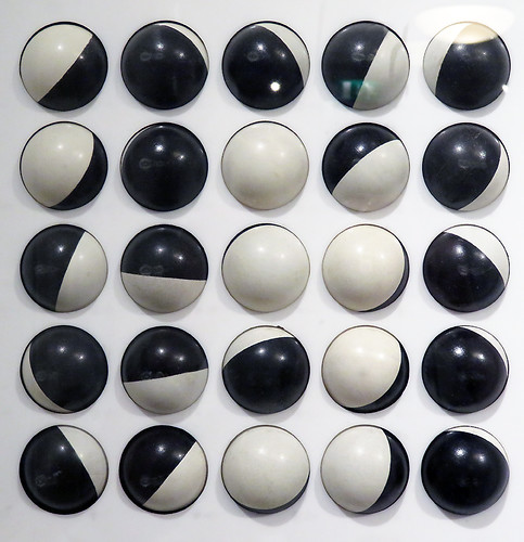 Black & white rolling balls make an interactive art piece at the Escher Museum in Den Haag, Holland