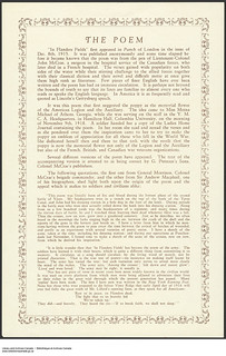 The Poem (In Flanders Fields) / Le poème In Flanders Fields (Au champ d'honneur) | by BiblioArchives / LibraryArchives