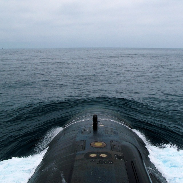 The view from the sail of the USS Helena (SSN-725), a Los